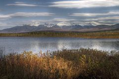 Lake and White Mountains Royalty Free Stock Image