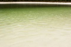 A lake with white sand beaches. A lake of green with white sand beaches Stock Photo