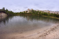 The lake in `White well`, the chalk quarry near Voronezh city, Russia Stock Photos