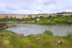 The lake in `White well`, the chalk quarry near Voronezh city, Russia Royalty Free Stock Photography