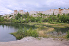 The lake in `White well`, the chalk quarry near Voronezh city, Russia Stock Photography
