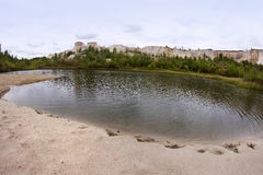 The lake in `White well`, the chalk quarry near Voronezh city, Russia Royalty Free Stock Image