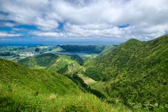 Lagoa Azul lake, Sao Miguel island, Azores, Portugal. Lake in wide volcanic crater, called Lagoa Azul in Portuguese, surrounded by green mountains of Sete stock photos