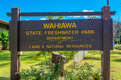 Lake Wilson Entrance. Located in Wahiawa, Hawaii, excellent fresh water bass fishing Stock Images
