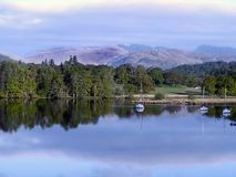 Lake Windermere on a cool hazy morning Stock Photos