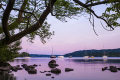 Lake Windermere at Dusk. A view of the beautiful Lake Windermere at dusk in the Lake District, UK Stock Photography