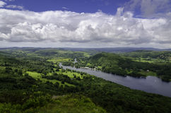 Lake Windermere Lake District. An aerial view of Lake Windermere from Gummer's How lookout in The Lake District in Cumbria, United Kingdom royalty free stock photography