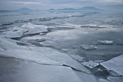 Lake at winter. Lake Balaton at winter time Stock Images