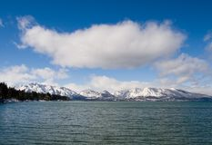 Lake in winter. With big cloud over it Stock Photography