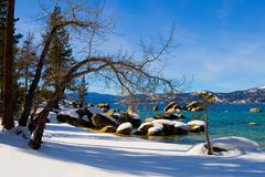 Lake in winter. High in the mountains Royalty Free Stock Image