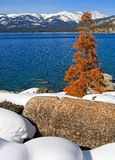 Lake in winter. High in the mountains Stock Photo