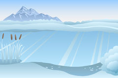 Lake winter blue white landscape day illustration Royalty Free Stock Images