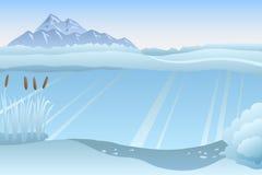 Lake winter blue white landscape day illustration Royalty Free Stock Images