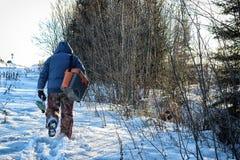 Lake Winter Fisherman Stock Images