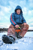 Lake Winter Fisherman Royalty Free Stock Photos