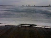 Lake ,winter is going. Photo of artificial lake in Vyshgorod Stock Image