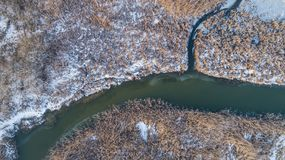 Comana lake in winter. Lake in winter. Location: Comana Natural Park, Romania. Aerial view Royalty Free Stock Photography