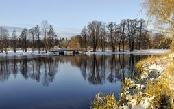 Lake in winter scene Stock Images