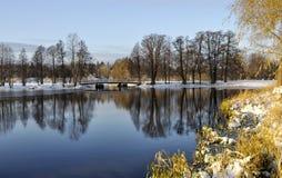 Lake in winter scene Stock Images