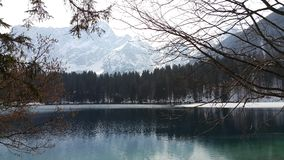 Lake in winter. View on cold lake Stock Photo