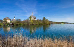 Lake Woerth View To Maria Woerth Church  Royalty Free Stock Photography