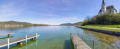 Lake Woerth View To Maria Woerth Church Stock Photography