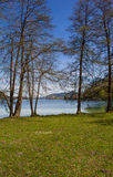 Lake Woerth View To Maria Woerth Through The Trees In Spring Stock Photography