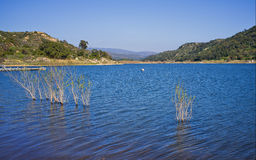 Lake Wohlford, San Diego County, California. The deep blue waters seem to sparkle on a beautiful blue sky day at Lake Wohlford, a domestic drinking water royalty free stock photos