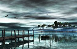 Lake and wood dock. Lake, boat, seagulls, grass and wood dock on in late afternoon, 3d rendering Stock Photos