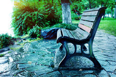 Lake wooden chair Royalty Free Stock Images