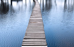 Lake and wooden footbridge Stock Photos