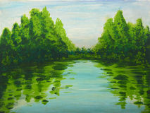 Lake in the woods painting Royalty Free Stock Image