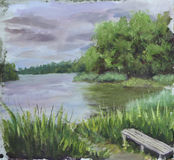 Lake of the Woods, trees, clouds, oil painting Stock Photos