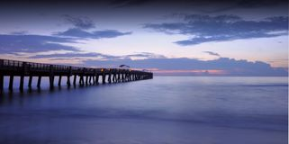 Lake Worth Pier. Lake Worth fishing pier and beach at sunrise in Lake Worth, Florida Stock Images