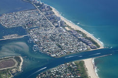 Lake Worth Inlet in Palm Beach County, Florida. Aerial view of the mouth of the Lake Worth Inlet in Palm Beach County, Florida, United States. With Singer Island Royalty Free Stock Photos