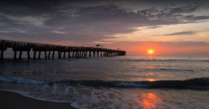Lake Worth Pier. Lake Worth fishing pier and beach at sunrise in Lake Worth, Florida Stock Photography
