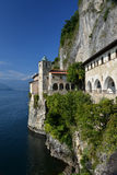 Lake - lago - Maggiore, Italy. Santa Caterina del Sasso monastery Royalty Free Stock Photo