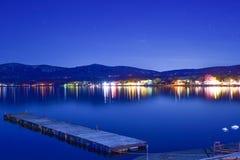 Lake Yamanaka near Mount Fuji at night stock photos