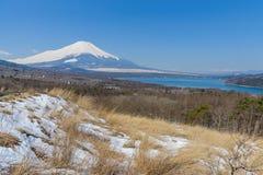 Lake Yamanaka in sunny day with Mt. Fuji, Yamanashi, Japan. Lake Yamanaka in sunny day with Mt. Fuji, Yamanashi, in Japan Royalty Free Stock Image