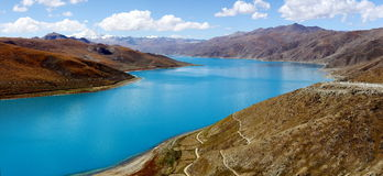 Lake yamdrok. Is one of the 3 holy lakes in Tibet Stock Images
