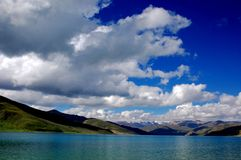 Lake Yamzho Yumco. :One of the holy lakes in Tibet Royalty Free Stock Image