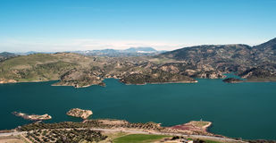 Lake of Zahara de la sierra. Lake located in the town of Zahara de la Sierra in the Spanish province of Cadiz, is the coast and mountain scenery in the Stock Photo