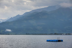 Lake zell am see at morning with blue stage Stock Photos