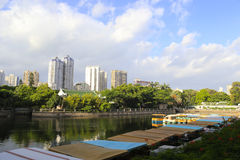 Lake of zhongzhan park, amoy city, china. There are some amusement boats in the zhongshan park, amoy city Stock Image