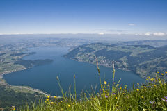 Lake Zug. Aerial view the lake Zug seen from the top of the mount Rigi (central Switzerland Royalty Free Stock Image