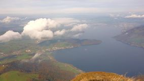 Lake Zug seen from Rigi Mountain, Switzerland stock footage
