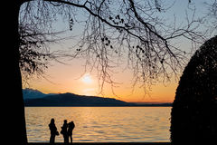 Lake of Zug Sunset with Tree an People Stock Images