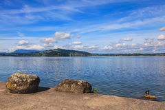 Lake Zug in Switzerland. View from the city of Zug in summertime Stock Photos