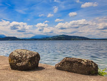 Lake Zug in Switzerland. View from the city of Zug in summertime Royalty Free Stock Photo