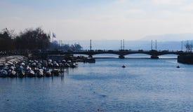 Lake of zurich. Pier on lake of zurich,switzerland Stock Photo